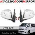 Plateado retrovisor eléctrico espejo con luz led para Toyota hiace 2005-2013 2014 2015