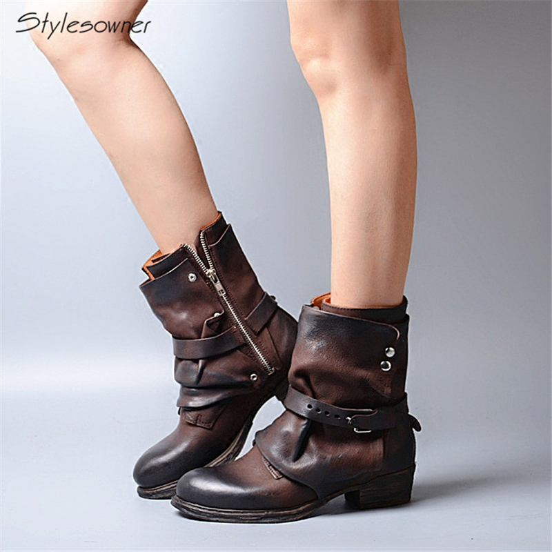 Stylesowner Winter New Ankle Boots Belt Buckle Decoration British Martin Boots Genuine Leather Low Heels Boots Warm For Female stylesowner british women martin boots belt buckle rivets round toe flat knight boots motocyle real leather cool boots female