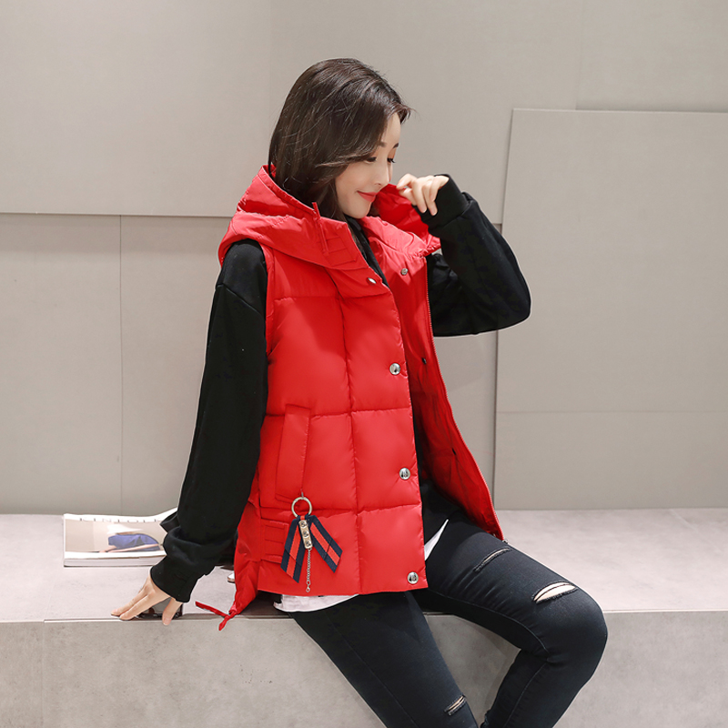 Short Front Long Back Autumn Winter Vest Women Waistcoat 2017 Cotton Hooded Warm Sleeveless Jacket Coat Vest Female 1027-69