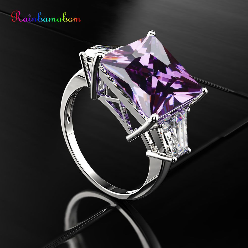 Rainbamabom 925 Solid Sterling Silver Huge Amethyst Gemstone Birthstone Wedding Engagement Diamonds Ring Jewelry Gifts Wholesale