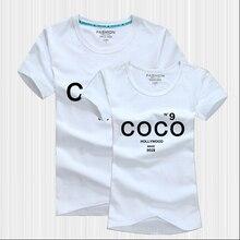 Summer Style Coréen Lovers Assortis T-Shirts Manches Courtes En Coton Imprimer Faux CC Canal T-shirt Femmes Marque Couple Tenue(China (Mainland))