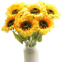 Artificial Flower Sunflower Single Silk simulation flower For home decoration wedding Party Garden fake flowers Wholesale цена и фото