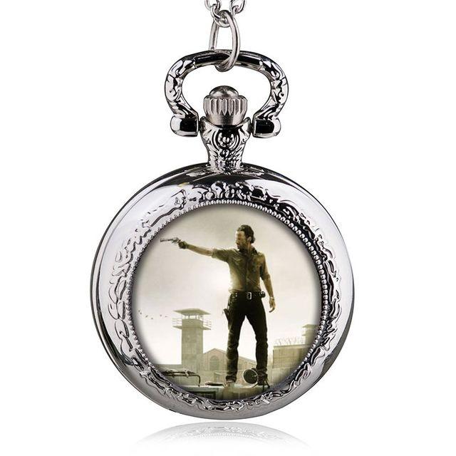 The Walking Dead Rick Orologio Da Tasca Retrò Ciondolo Collana Uomini New Vintag