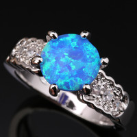 Impressive Round Blue Fire Opal White Topaz Graceful 925 Sterling Silver Stamped Fashion Women S US