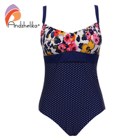 Andzhelika 2017 Sexy One Piece Suit Women Summer Print Floral Dot Swimsuit Beach Wear Halter Bathing