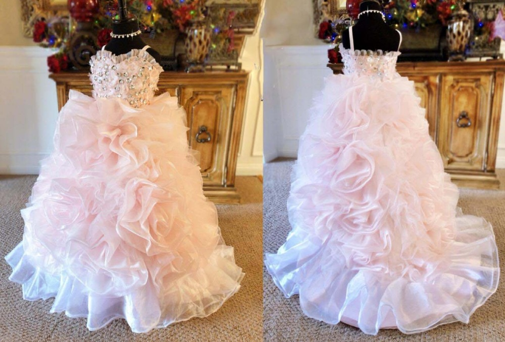 7e852a1f3 Light pink ball gown organza ruffles flower girl dresses little princess  sweetheart birthday party prom gown with sequins beads