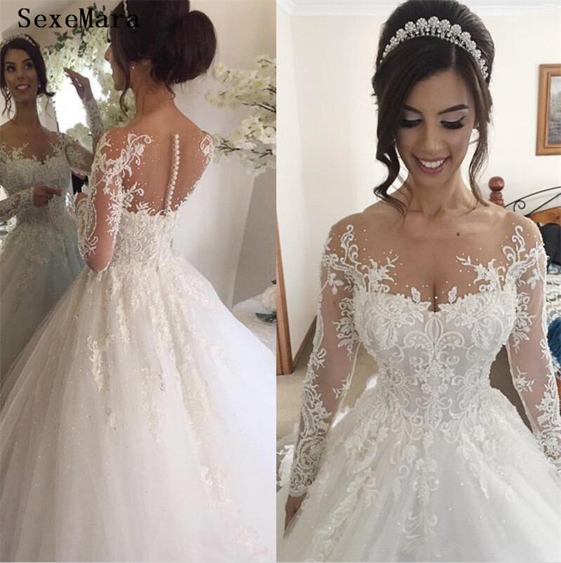 Illusion Jewel Long Sleeves Wedding Dress with Beading Appliques Chapel Train Puffy Skirt Arabic Church Bridal Wedding Gowns