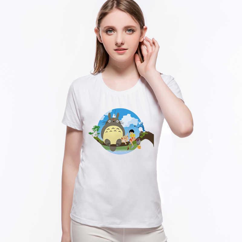 יפני אנימה חולצה חתול Totoro עם ילדה Harajuku חולצה נשי בציר רטרו הדפסת למעלה O-צוואר בתוספת גודל לנה דל ריי l9-F8