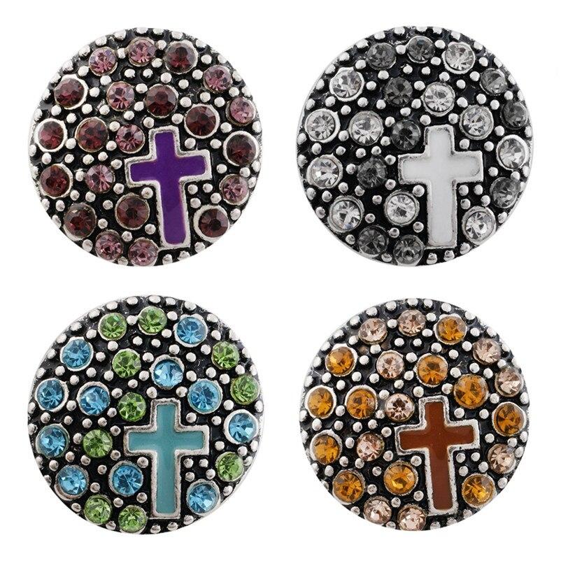 Partnerbeads Wholesale Cross Snap Button Jewelry 18mm New Fashion ODM OEM God Faith Button Fit Women Bracelet Charm KC7492