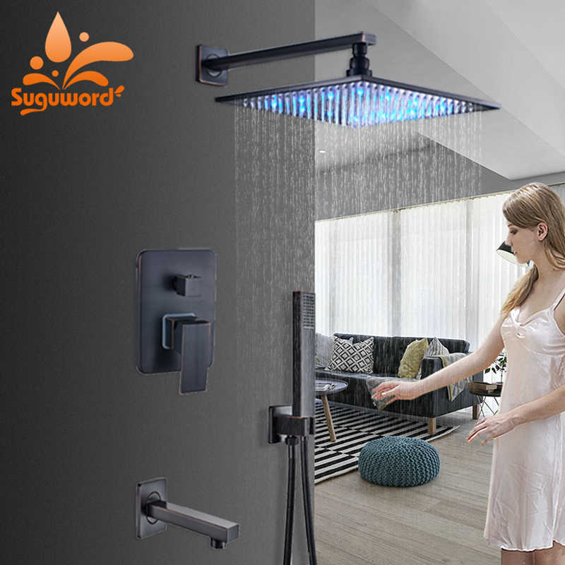 LED change with Temp  ORB Concealed Shower Set Hot Cold Shower System Mixer Taps 12 inch Brass rainfall shower head