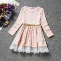 2016 Fashion Full Sleeve Girls Princess Dress Lovely Kids Dresses Children Clothes Free Shipping