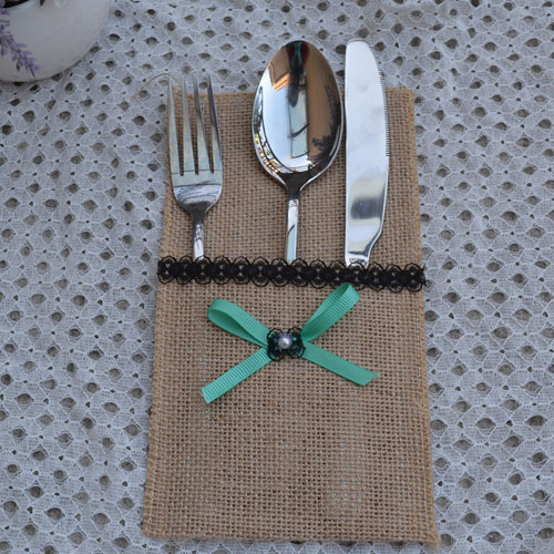 product Hessian Cutlery Holder Bag Mediterranean Bow Tie Burlap Utensil Knife and fork Pockets Wedding Party Tabel Decorations