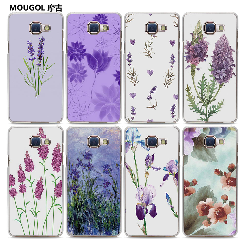Galleria fotografica MOUGOL Simple lavender Purple flowers style clear hard Phone Case Case for Samsung Galaxy A3 2017 A310 A5 A7 2016 A8 A9