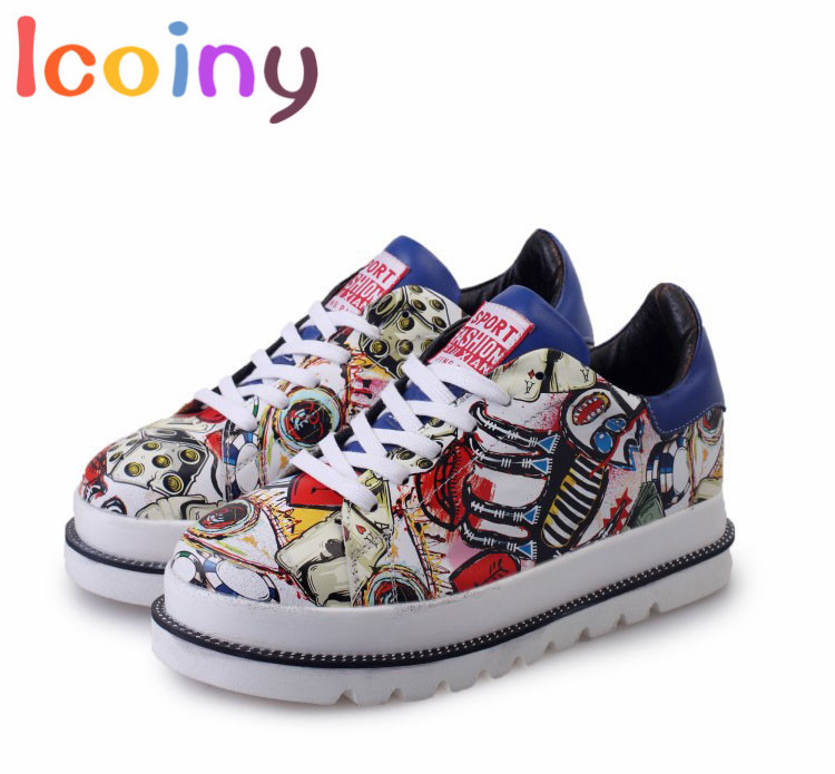 Harajuku Graffiti Creepers Shoes 2017 Women Casual Shoes Thick-soled Platform Wedges Shoes Footwear Zapatillas moda Mujer phyanic 2017 gladiator sandals gold silver shoes woman summer platform wedges glitters creepers casual women shoes phy3323