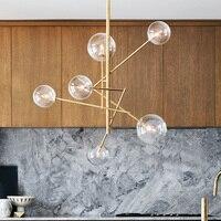 Современные светодиодные подвесные светильники железа столовой Lamparas colgante Ясно Глобус стеклянные подвесные светильники золотистой подвес