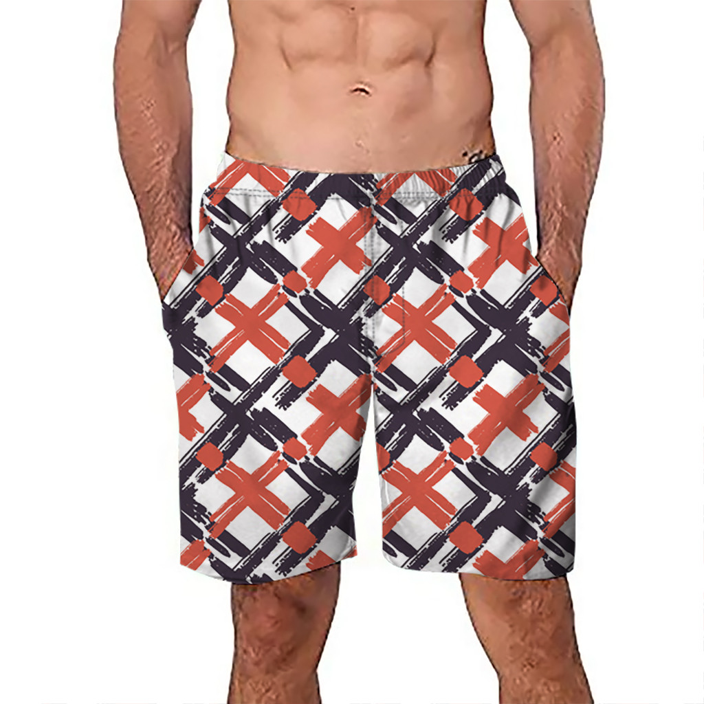 Men's Clothing Chamsgend Shorts Mens Board Shorts Surfing Trunks Blue Red Plaid Print Patchwork Beach Shorts Swimwear Male Short Pants 9feb.12