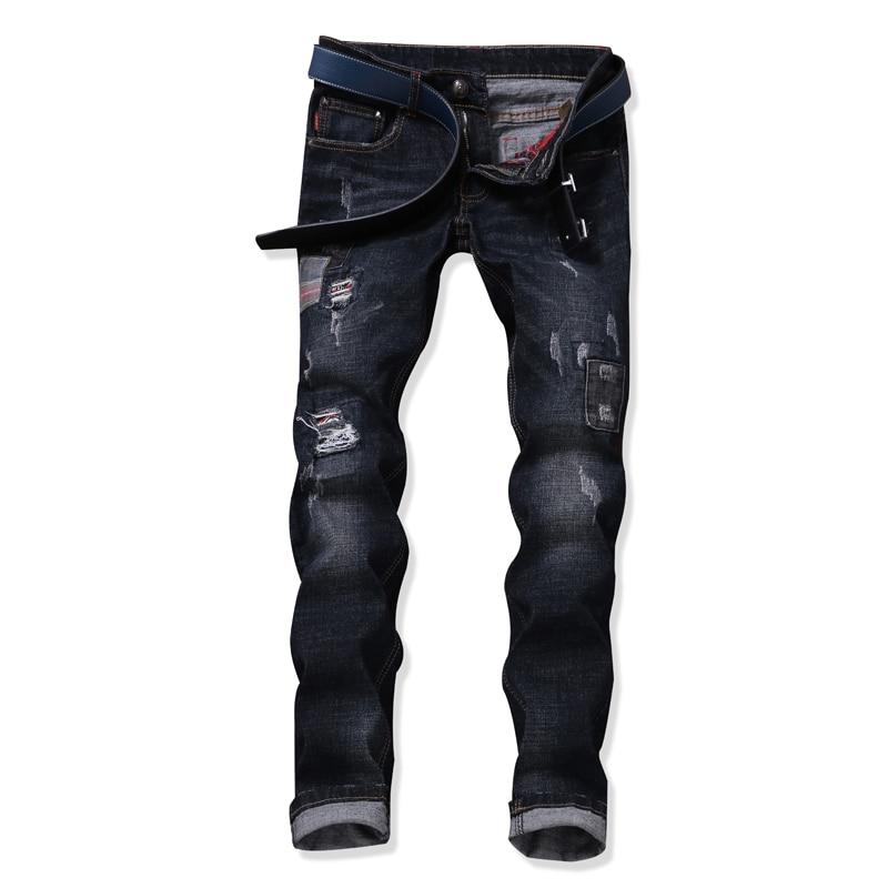 Mens Jeans Ripped Hole BIker Patch  Oringal Design Black Denim Jeans Stretch Slim Fit Denim Plus Size 29-38  Trousers Pants 2017 fashion patch jeans men slim straight denim jeans ripped trousers new famous brand biker jeans logo mens zipper jeans 604
