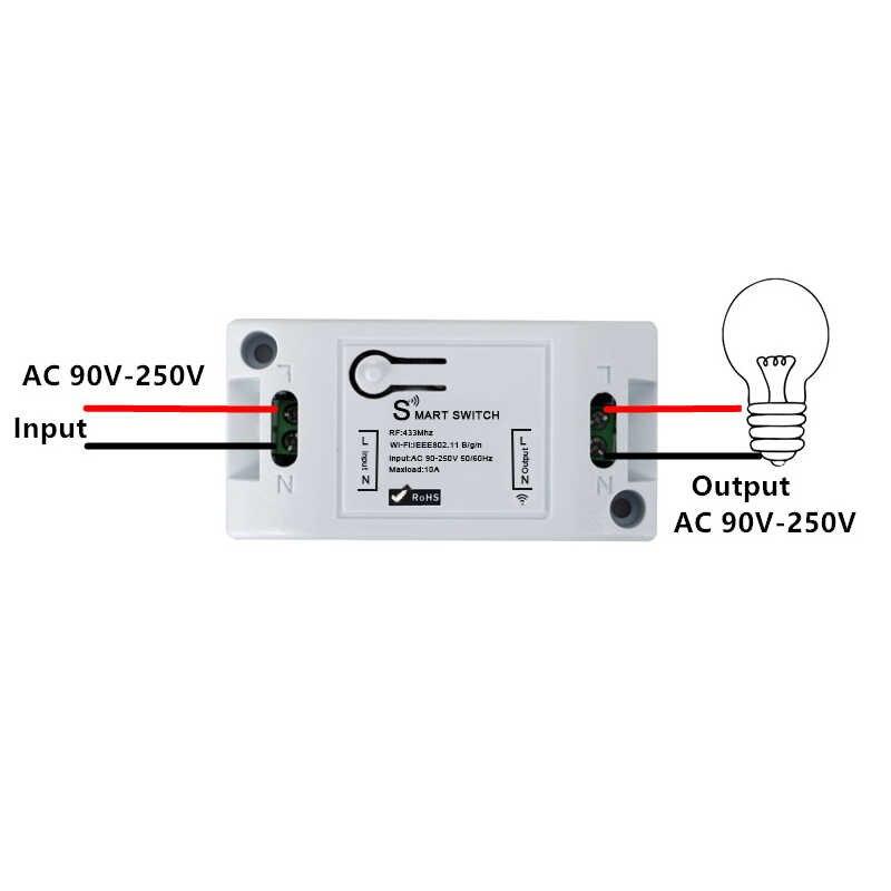 QIACHIP Wifi inalámbrico 433 Mhz receptor de relé RF módulo inteligente inicio luces interruptor + interruptor de Control remoto de pared para lámparas los Fans de DIY