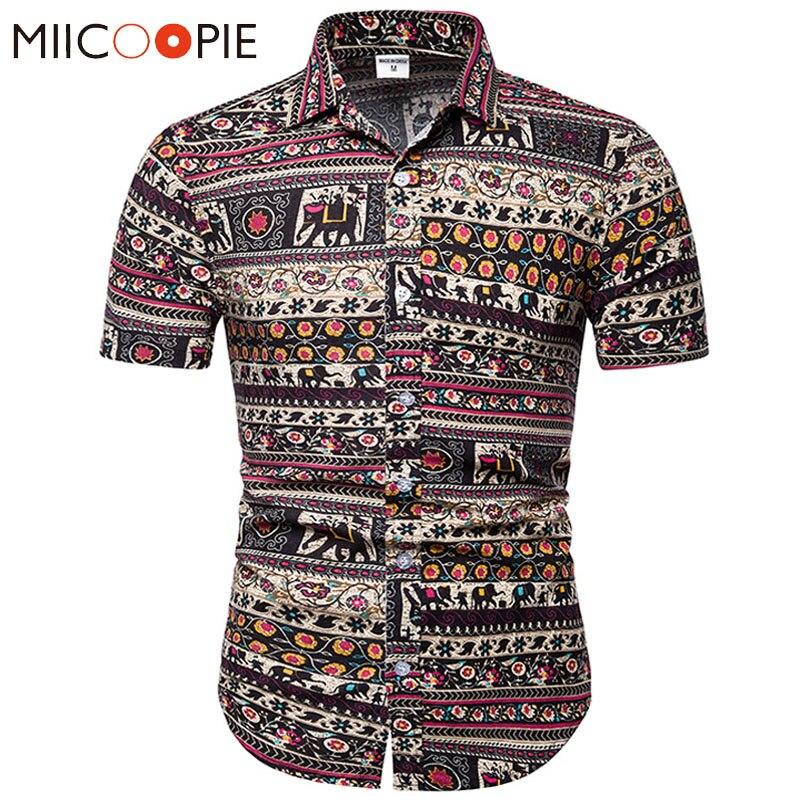 Summer Men Floral Shirt Fashion Camisa Masculina Elephant Printed  Short Sleeve Mens Shirts Casual Slim Fit Men's Clothing 5XL