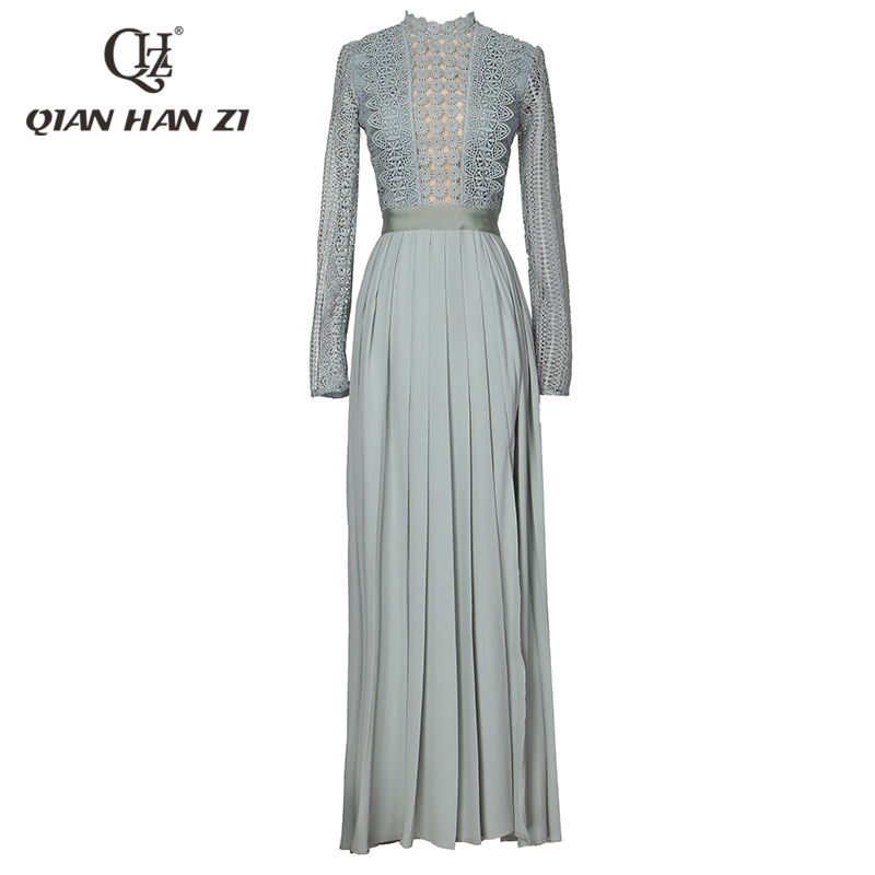 Qian Han Zi newes Women s Long Sleeve Maxi Dress Floral Hollow out Embroidery Long Dress