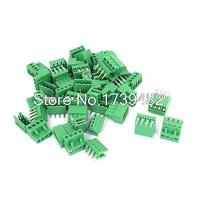 26 Sets 5 08mm Pitch Right Angle 4pin PCB Pluggable Terminal Block Connectors