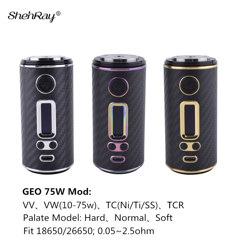 Véritable Shenray GEO 75 w Boîte Mod Cigarette Électronique VW TC TCR Vape Mods ajustement 18650/26650 Batterie pour 510 Atomiseur RTA Vaporisateur