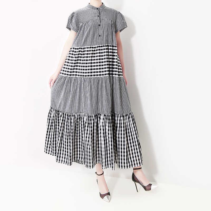 Женское платье с воротником-стойкой, длинное серое клетчатое трапециевидное платье составного кроя большого размера, модель 5016 в корейском стиле на лето, 2019