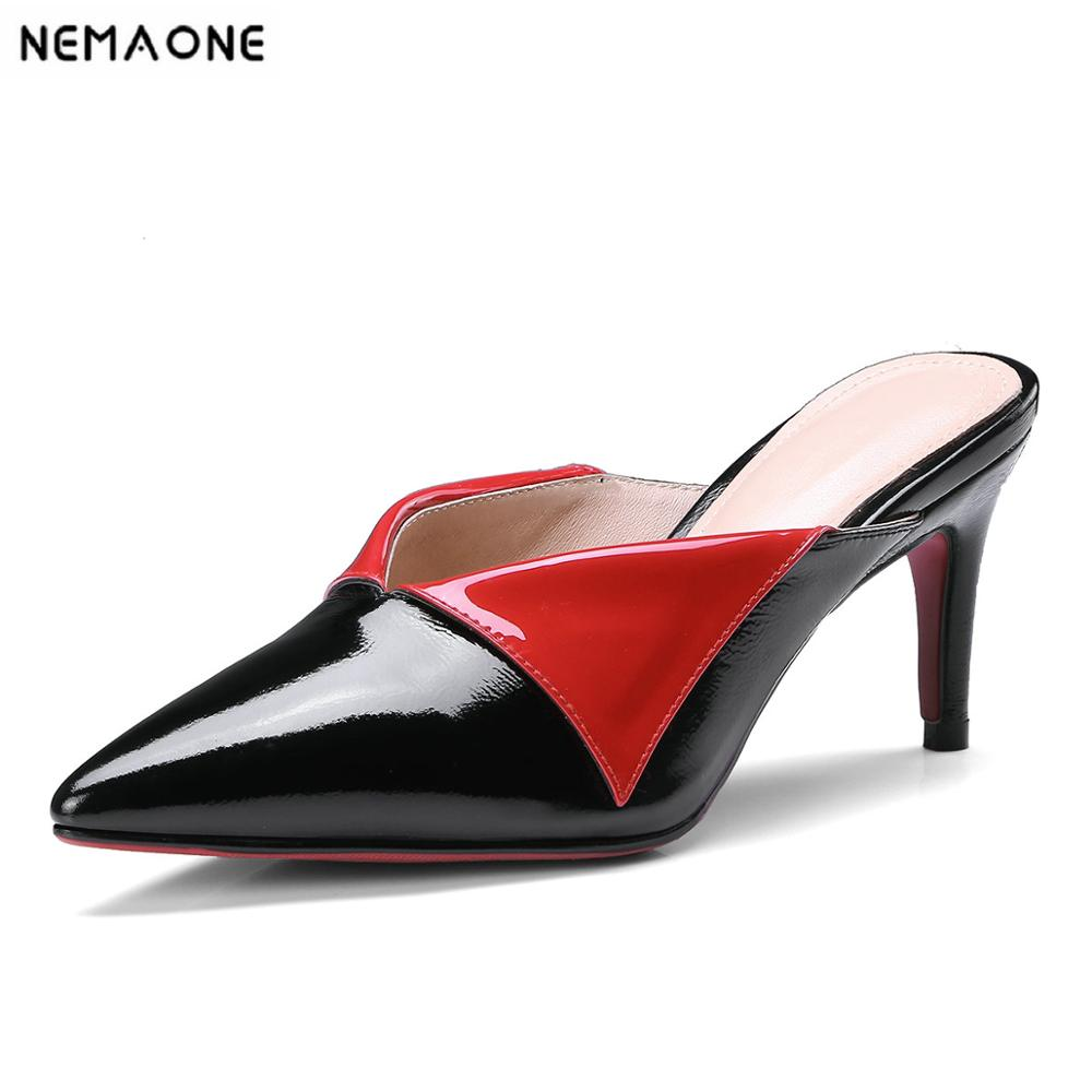 100% Wahr Nemaone Echtem Leder High Heels Frauen Hausschuhe Sommer Kleid Partei Schuhe Frau Mischfarben Krawatte Poined Kappe Dame Sandalen