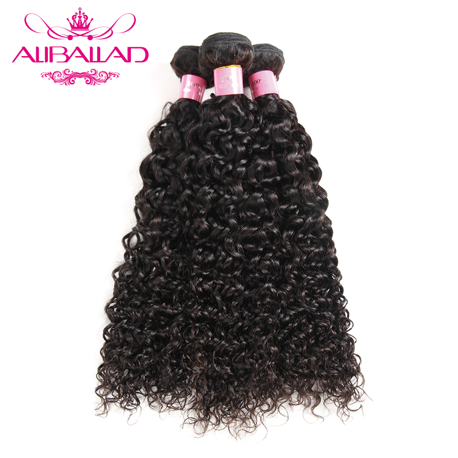 Aliballad Peruvian Kinky Curly Hair Weave Human Hair Bundles Natural Color Nonremy Hair Extensions Double Weft