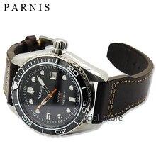 45mm Parnis hombres Mismo-Viento Automático Reloj Mecánico Relojes Bisel De Cerámica Reloj 5ATM Japón Movimiento de Zafiro Hombres Reloj de pulsera
