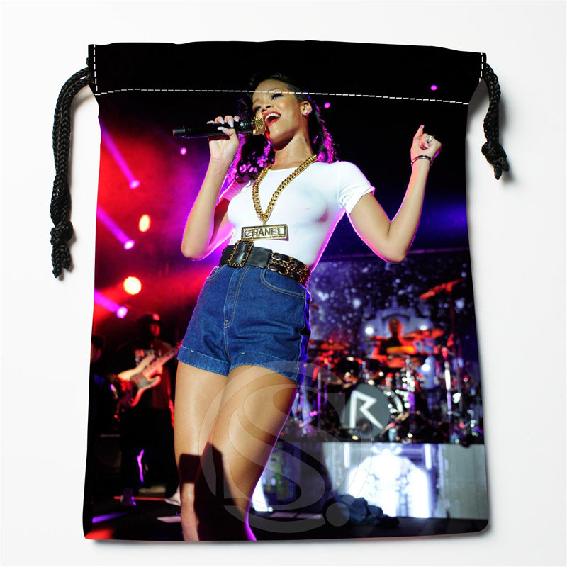 New Rihanna Printed Storage Bag 27x35cm Satin Drawstring Bags Compression Type Bags Customize Your Image Gifts
