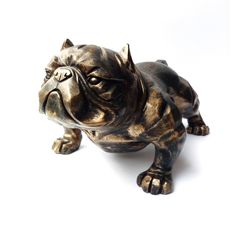 Resin Bulldog Dog Figurines Home Decor Crafts Room Decoration Vintage Ornament American Bully