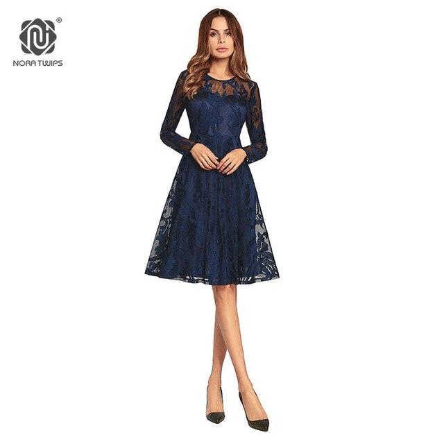 37e2fcd41508 € 16.13 15% de DESCUENTO|Aliexpress.com: Comprar Nora twips 2018 mujeres  moda Encaje vestidos poliéster manga completa rodilla longitud sexy ...