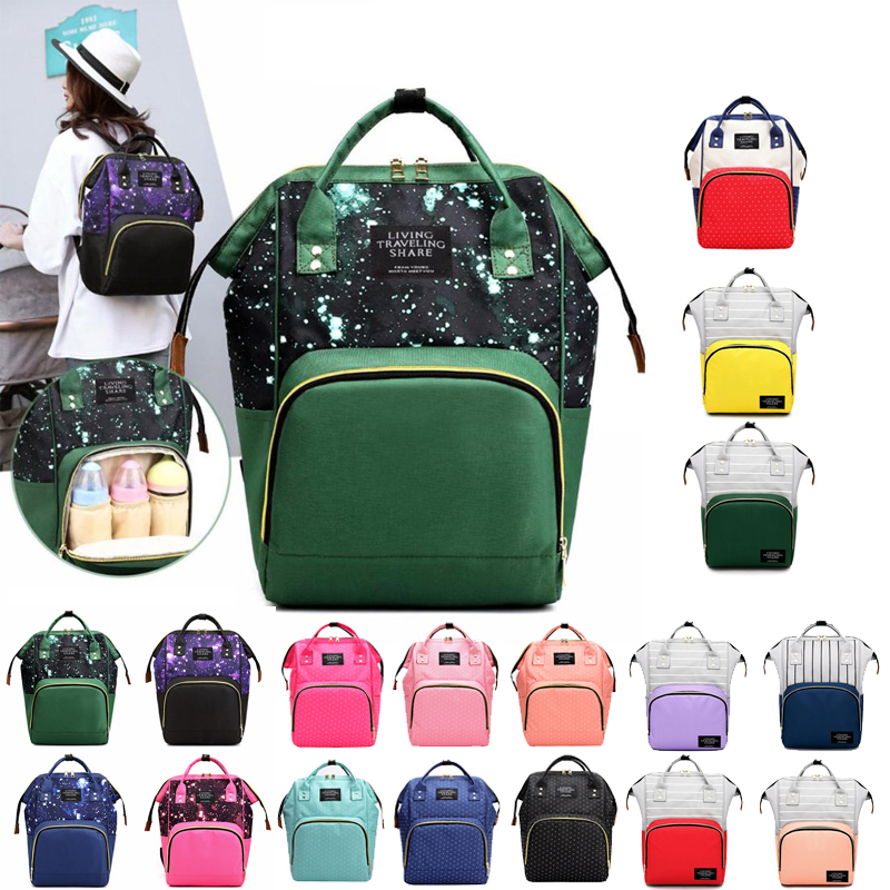 1set Brand Large Capacity Baby Bag  Baby Nappy Baby Care Bags Star Sky Print Mommy Maternity Waterproof Backpacks Nylon Nursing
