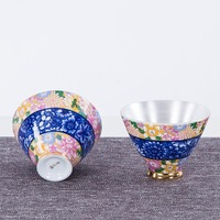 2PCS/Lot 50ml Jingdezhen Blue and White Porcelain Teacup Silver Enamel Tea Cups Tea Ceremony Cha Bowls Drinkware Birthday Gifts