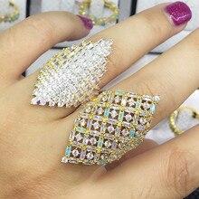 Godki 35 мм Monaco Дизайнер роскошный цветок лотоса кубических zironia обручальное Дубай naija Свадебные кольца ювелирные изделия наркомании