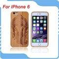 1 unids para iphone 6 caso 4.7 pulgadas caja del teléfono de madera de bambú natural genuino elefante patrón duro volver cubierta de la caja de madera