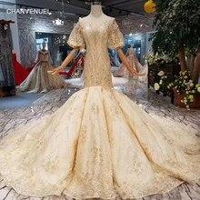 LSS343 mermaid wedding dresses champagne o-neck lantern sleeves open back trumpet  bride gowns wedding dress golden lace luxury d6745cea14ef