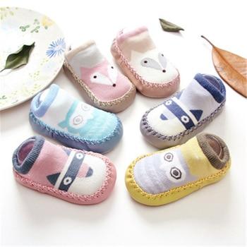 Baby Shoes Socks Infant Cartoon Indoor Floor Socks Leather Sole Non-Slip Thick Towel Shoe