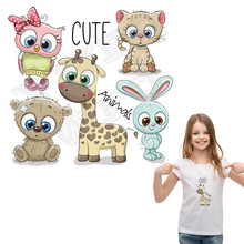5pcs/lot Cute Animal Set Patches Girls Boys T-shirt Decoration Iron On For Clothing DIY Heat Transfer Appliqued Badges
