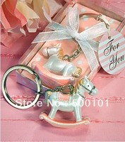 100pcs Lot Party Wedding Gift Favors Valentine S Rocking Horse Key Chain Keychain Pink