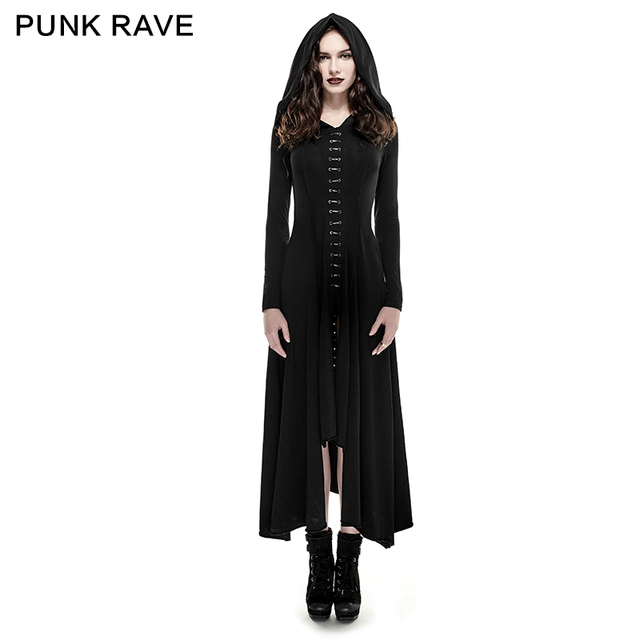 Punk rave artes das trevas mulheres fashion dress longa com capuz preto gothic witch manto xs-3xl
