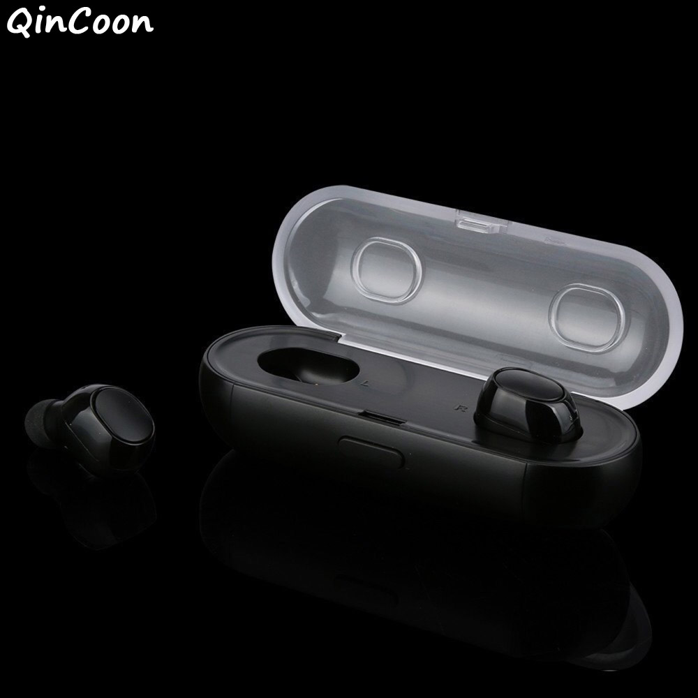 True Wireless Bluetooth 4.2 Earphones HIFI Stereo Noise Cancelling Headphones Mini in ear Sports Headset Earbuds w/Charging Box hands free noise cancelling hidden in ear bluetooth headset mini true wireless earbuds twins with power bank box