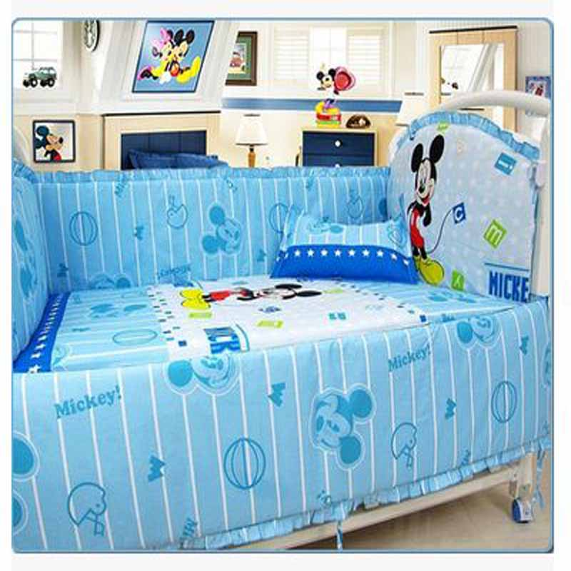 Kingtoy 5 PCS Newborn Baby bedding set Cartoon Infant bed Sheet 100% cotton Kids bedclothes include pillow bumpers mattress