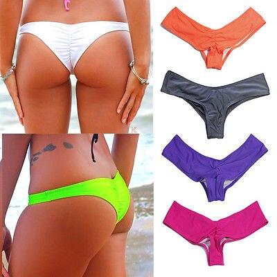 2016 New Womens Brazilian Bikini V Scrunch Butt Cheeky Thong Bottom Beach Wear S XL