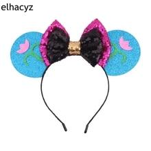 Retail 1PC Glitter Bow Minnie Ears Headband Girls Sequin Hairband Snowflake Festival Headwear For Kids Hair Accessories Hair Bow
