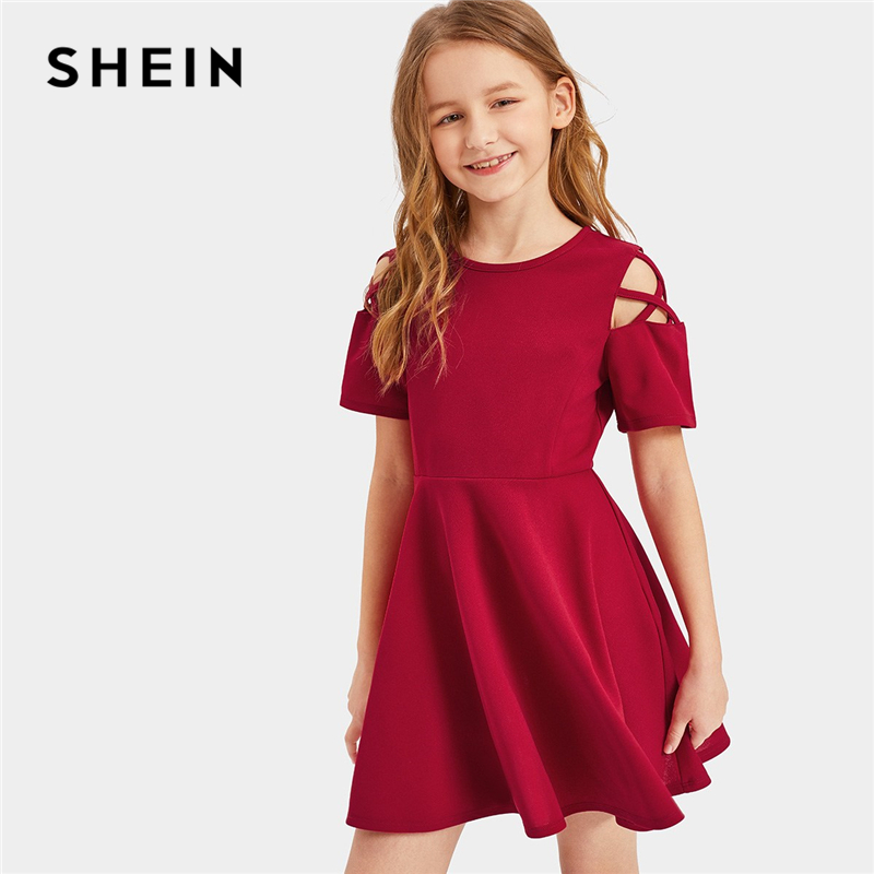 SHEIN Kiddie Burgundy Crisscross Shoulder Ruffle Hem Girls Dress Kids 2019 Summer Short Sleeve Casual Zipper Back Flared Dresses ruffle trim high split hem cami dress