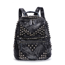 Hot sale designer college wind rivet leisure ladies bag soft material jeans cloth fashion Korean summer backpacks 2 colors sac