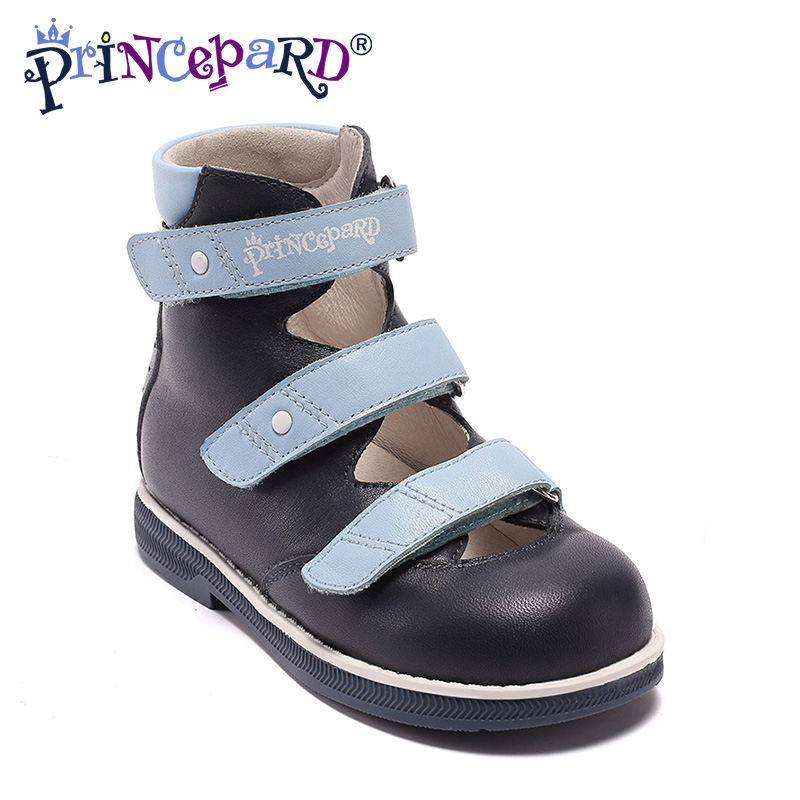 Princepard New Fashion 1pair kids Orthopedic Shoes Arch support boys Genuine Leather Sandals Children Shoes+inner 14-21.4cm