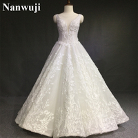 Luxury Crystal Wedding Dress A Line Open Back Lace Overall Wedding Dresses Scalloped China Bridal Gowns